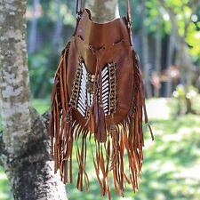 Genuine Leather Bag Native American Style bohemian vintage handbag purse bags
