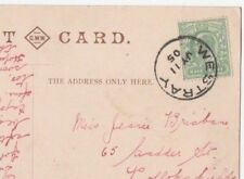 WESTRAY SINGLE RING POSTMARK ON POSTCARD KIRKWALL ORKNEY SCOTLAND USED 1905