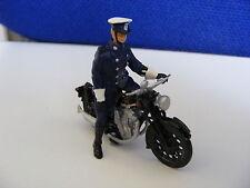 Police Patrol Motorcycle & Rider on Duty  - 1:43 O Gauge Painted Metal Model