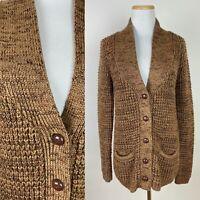 VTG 80s Chocolate Brown Cardigan Sweater S Wool Blend Chunky Knit Minimalist
