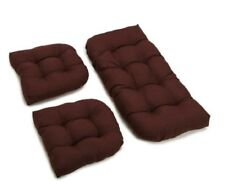 Outdoor All Weather 3pc Wicker Settee Chair CUSHION SET Dark Brown Solid