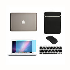 """5in1 Rubberized GREY Case for Macbook White 13"""" +Keyboard Cover+ LCD +Bag +Mouse"""
