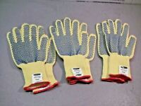 Ansell 70-330 GoldKnit Large Yellow Dupont Kevlar Blue Dotted Gloves x 3-Pairs