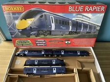 More details for hornby 00 blue rapier r1139 train set 2 x engines & 2 coaches only no track