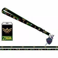 Nintendo Zelda Hylian Shield ID Holder Break-Away LANYARD Keychain w/ Logo Charm
