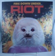 "Riot Fire Down Under Record Store Promo poster flat 12""X12"" 1981 Elektra Metal"