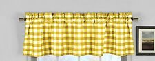 lovemyfabric Gingham Checkered Plaid Design Kitchen Curtain Valance-Yellow