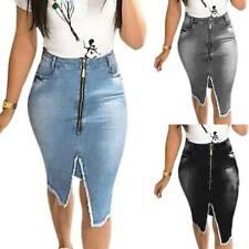 Womens Denim High Waist Pencil Skirts Zipper Jeans Skirt Casual Slim Party Dress