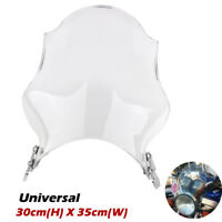 "7"" Screen Motorcycle Round Windshield For Honda Yamaha Kawasaki Suzuki Universal"