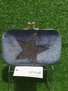Dark Grey Star Box Clutch Bag w/ Chain Strap Hard Case & Velvet Cover Snap Close