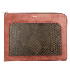 42406 auth BALLY dusty rose suede leather & dark green SNAKESKIN Clutch Bag