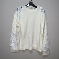 Ted Baker London Crew Neck Sweater White Floral Lace Size 4
