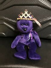 "Ty Beanie Baby ""Princess"" Diana Bear 1997 PE Pellets + CROWN"