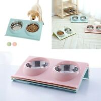 Pet Food Double Bowl Dog-Cat Water Iron Stand Stainless Steel Dish Puppy Feeder