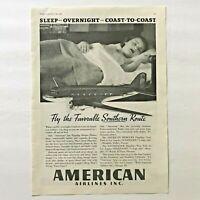 1936 American Airlines Vintage Original Print Ad Overnight Sleeper Plane