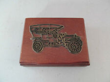 Vintage 2 Deck Playing card Set In Wood Storage Box Old Car Motif 1985