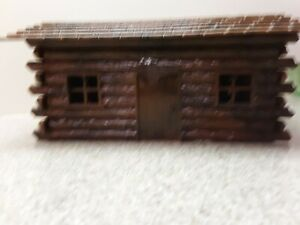 Vintage H-O scale Plastic Log Cabin and Fencing