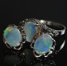 Solid opal jewellery set,Australian Natural Crystal Opal Ring&Earrings, Silver