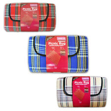 Linens Limited Tartan Check Foldable Waterproof Fleece Picnic Blanket