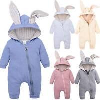 Newborn Unisex Baby Boy Girl Easter Bunny Hoody Romper Jumpsuit Bodysuit Outfits