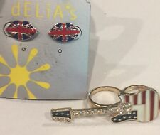 Guitar Ring With Stars & Stripes Red White And Blue Enamel With Stones