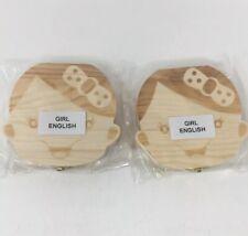 x2 Wooden Girl Baby Teeth Keepsake Box Storage Stem Cells
