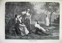 Original Old Antique Print 1872 Fine Art Love Spell Young Women Orchard Tree