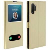 Housse Galaxy Note 10 Plus Protection Double Fenêtre Fonction Support - doré