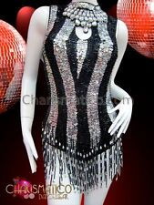 b4fbe60f2f40 CHARISMATICO Black Silver Sequin Striped Keyhole Dancer's Beaded Fringe  Leotard