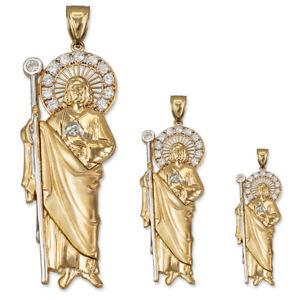 10K Gold St. Jude CZ Pendant (S/M/L)