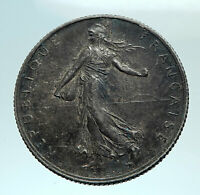 1916 FRANCE Antique Silver 2 Francs French Coin w La Semeuse Sower Woman i79480