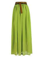 Lady Women Chiffon Maxi Skirt Pleated Retro Long Dress Elastic Waist   25 Colors