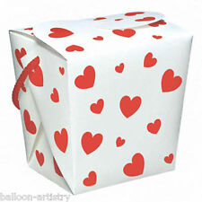 6 Valentine's Day Classic RED Hearts Gift Favour Boxes Pails