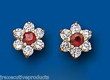 Garnet earrings Cluster Garnet Studs Yellow Gold garnet earrings