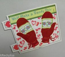 Vtg Valentine Card Flocked Pretty Red Mittens Dandy Pair 40's Unused