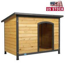 43'' Large Slant-Roofed Wood Dog Kennel Weather Resistant Home Outdoor Yellow