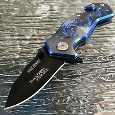 "3.5"" TAC-FORCE Blue Dragon Small Tactical Survival Rescue Pocket Knife Open Mini"