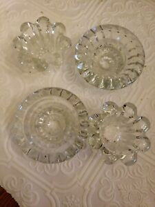 Vintage Candle Holders KIG Indonesia 2 Sets Crystal  Glass Flower Taper 4 total