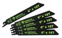 GREENLEE Reciprocating Saw 5 pc Blade Set 6 Inch 18TPI Bi Metal CHE 353-618