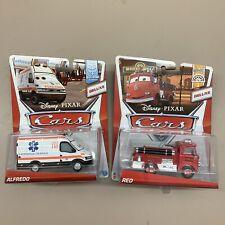 Cars Deluxe Lot Of 2 Alfredo Ambulance Red Fire Truck Allinol Wheel Well Motel