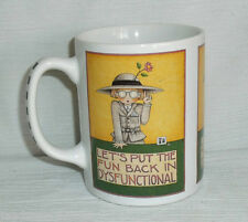 "Mary Engelbreit Mug Cup Let's Put The Fun Back in Dysfunctional 3.75"" Yellow"