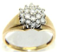 Ladies womens 9ct 9 carat gold ring set with a diamond cluster, UK size N 1/2