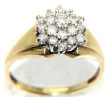 da donna 9 carati 9ct ORO GIALLO anello a grappolo con diamanti Misura n 1/2 -