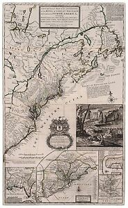 Old Vintage Decorative Map of British Colonies in North America Moll 1732