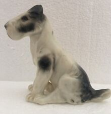 "Vintage Fox Terrier Wheaten Sealyham Porcelain Dog Figurine White Gray Black 4"""