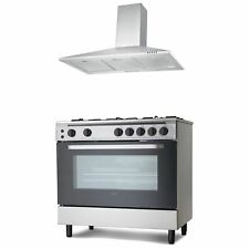 Servis 90cm Gas Range Cooker & Chimney Cooker Hood Pack in Stainless Steel
