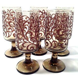 LIBBEY JUICE GLASSES PRADO BROWN SCROLL SET OF 5  STEMMED 6 OZ. VINTAGE