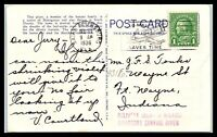 """1936 US Postcard - St. Petersburg, FL to Ft Wayne, IN """"Delivery Delayed"""" E20"""