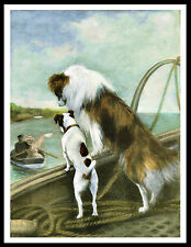ROUGH COLLIE AND FOX TERRIER ON BOAT LOVELY VINTAGE STYLE DOG PRINT POSTER