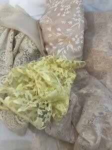 Vintage Sheer Nylon Lace Lot Ecru Yellow 1960s